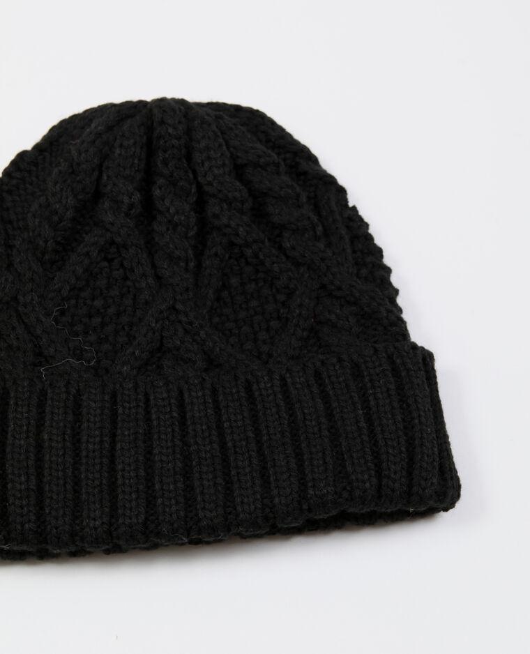 Bonnet à torsades noir
