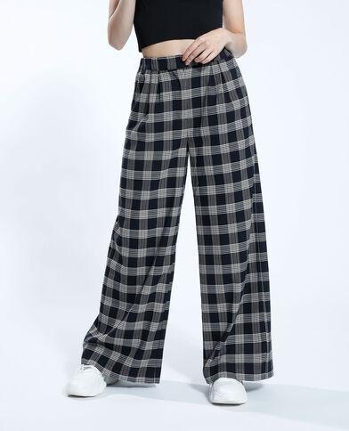 Pantalon wide leg à carreaux noir - Pimkie
