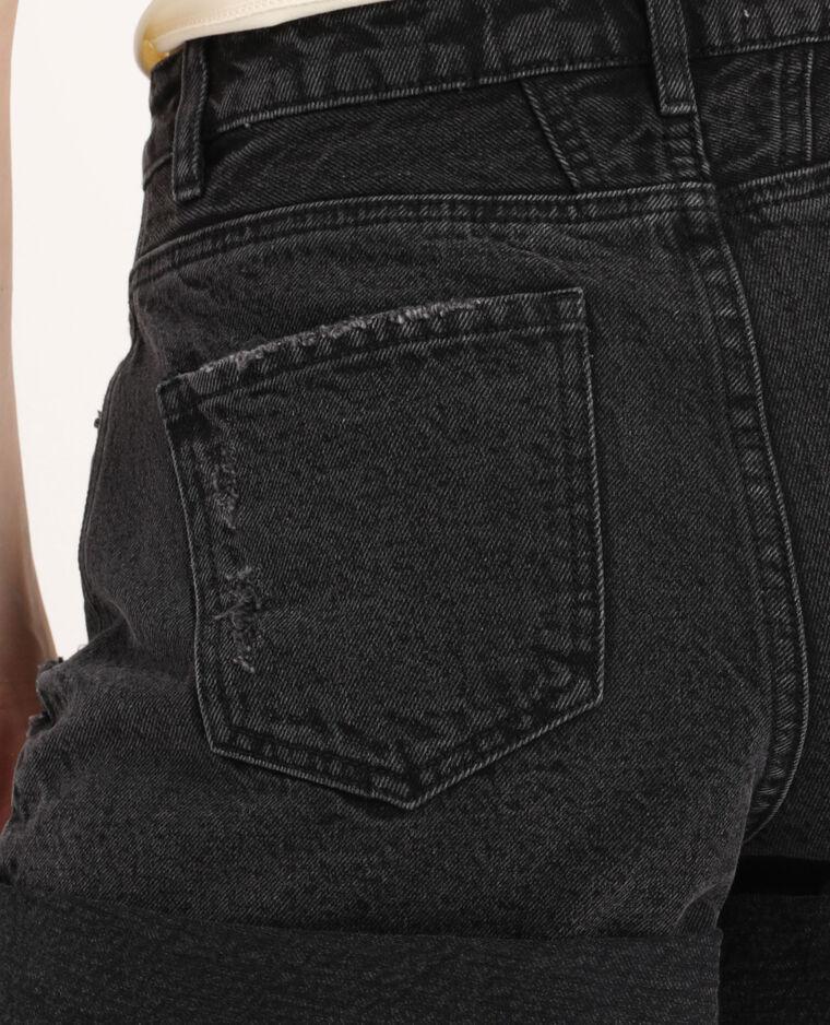 Short en jean destroy noir