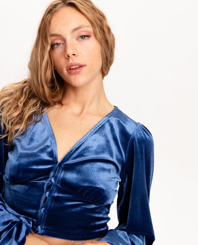 Cropped top velours ras bleu foncé