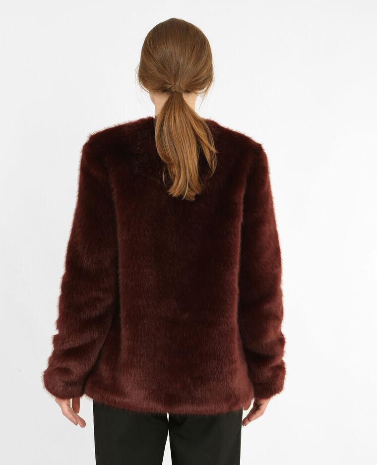 Manteau en fausse fourrure grenat