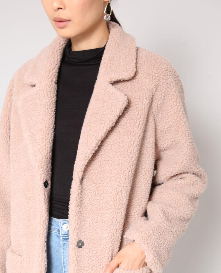 Manteau en fausse fourrure vieux rose