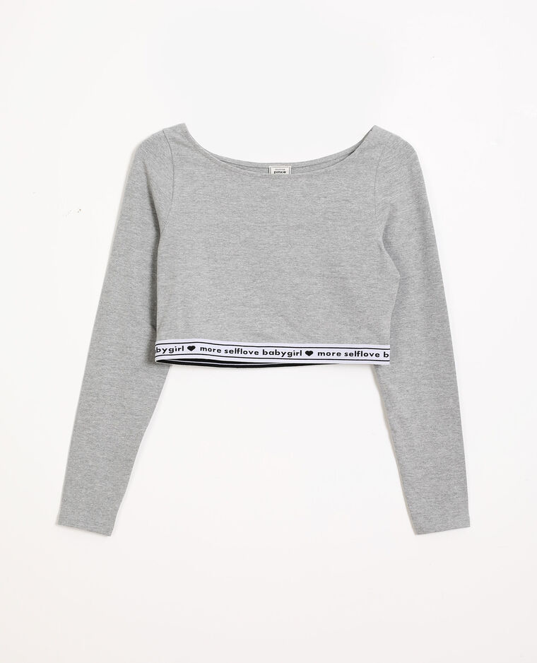 Cropped top loungewear gris chiné