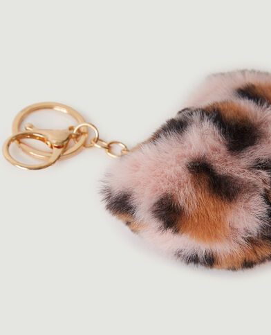 Porte-clé cœur léopard tout doux rose - Pimkie