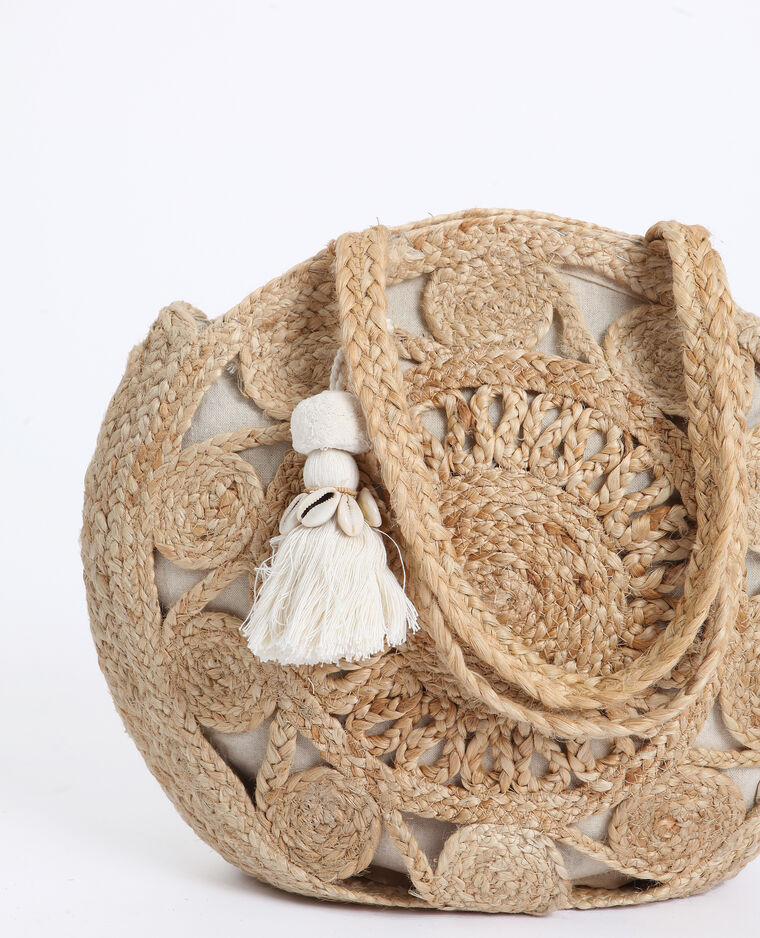 Grand sac en paille beige taupe
