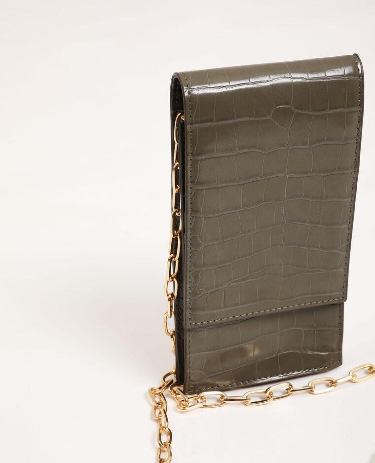 Pochette pour smartphone avec bandoulière kaki