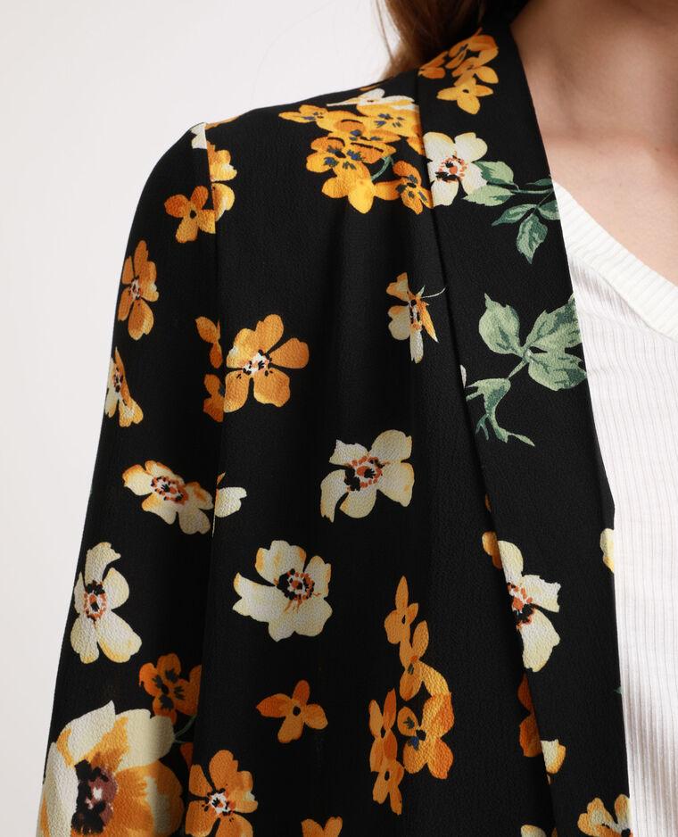 Veste à fleurs noir