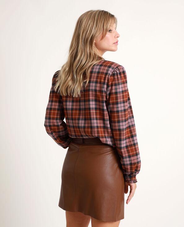 Chemise à carreaux marron