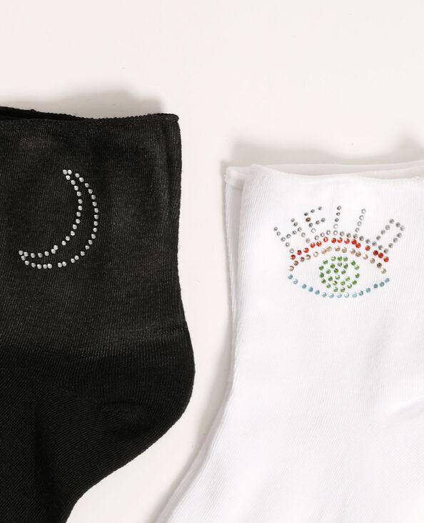 Lot de 2 paires de chaussettes à strass noir - Pimkie