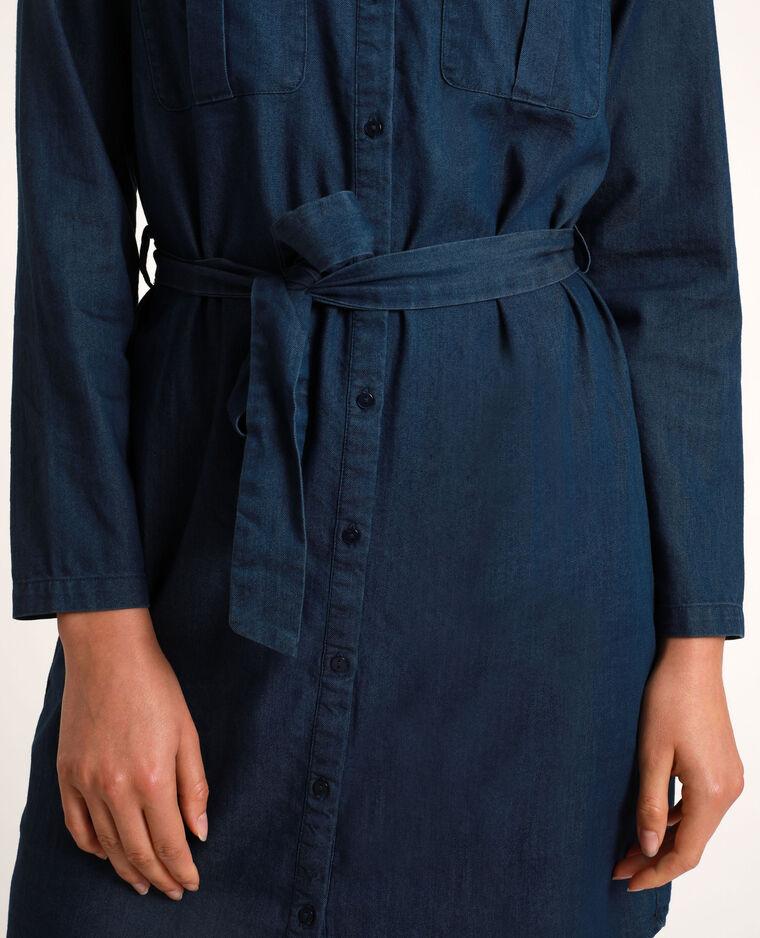 Robe chemise en jean bleu