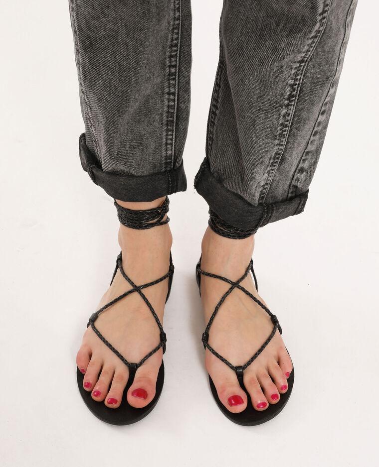 Sandales plates tressées noir