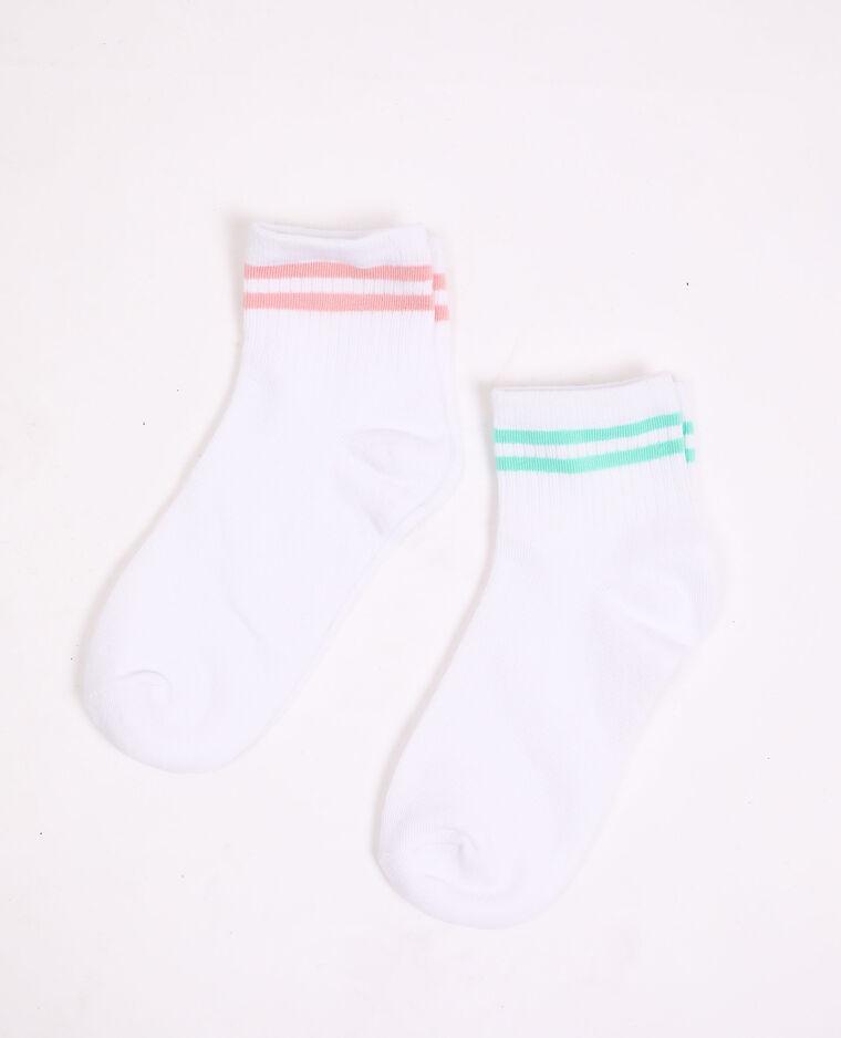 Lot de 2 paires de chaussettes rayées blanc