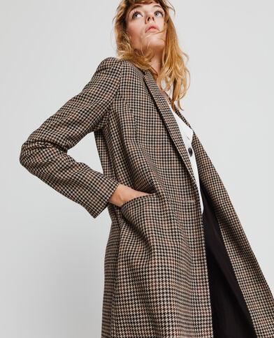 Manteau droit imprimé marron - Pimkie