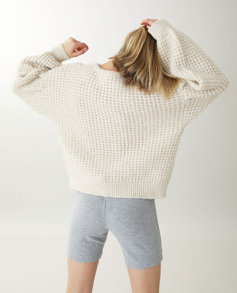 Pull grosse maille beige