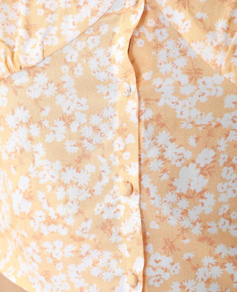 Top fleuri et boutonné orange - Pimkie