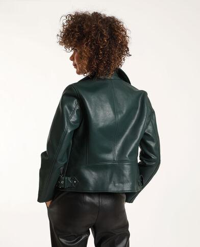 Blouson biker simili cuir vert