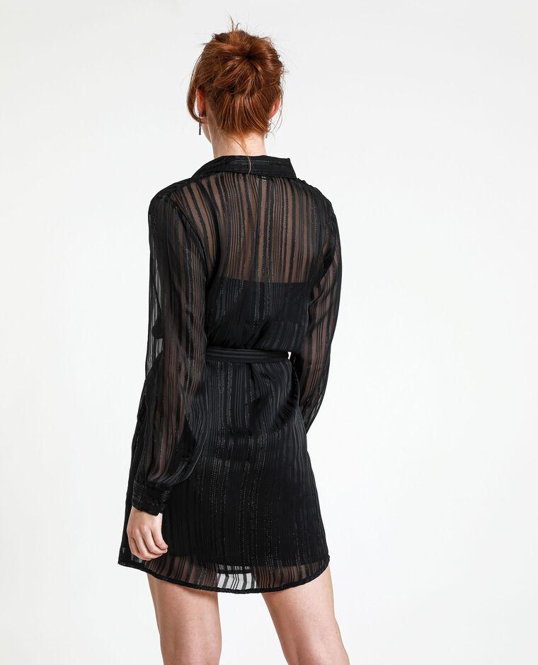 Chemise longue rayée noir