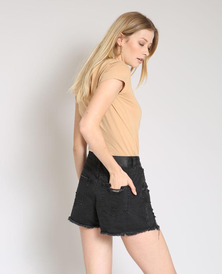 T-shirt à col V beige sable