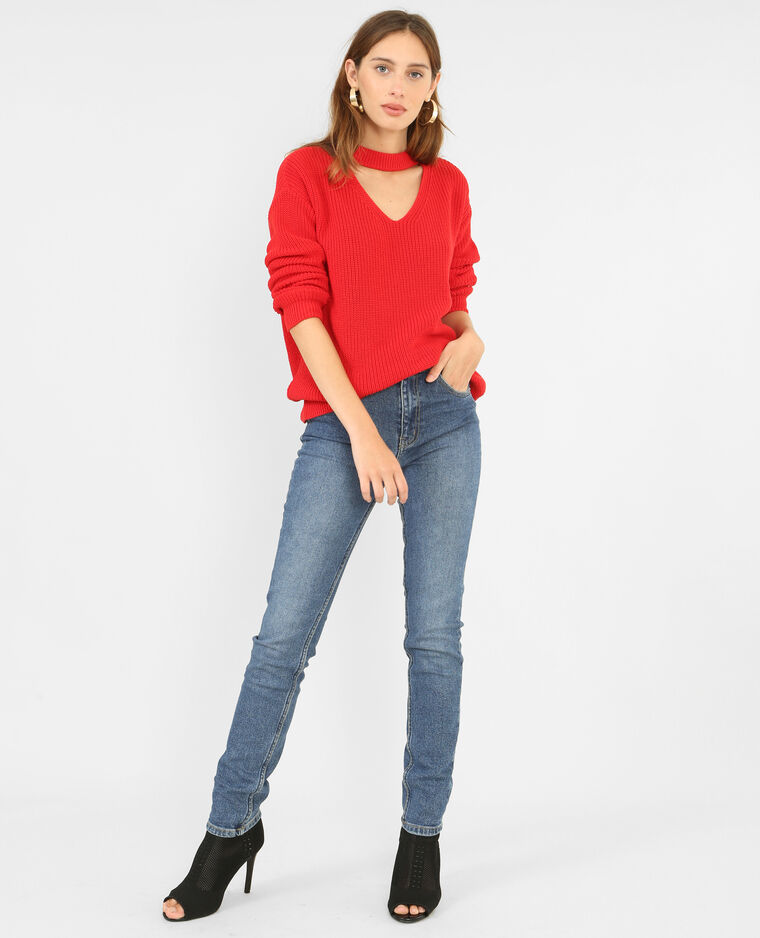 Pull col choker rouge