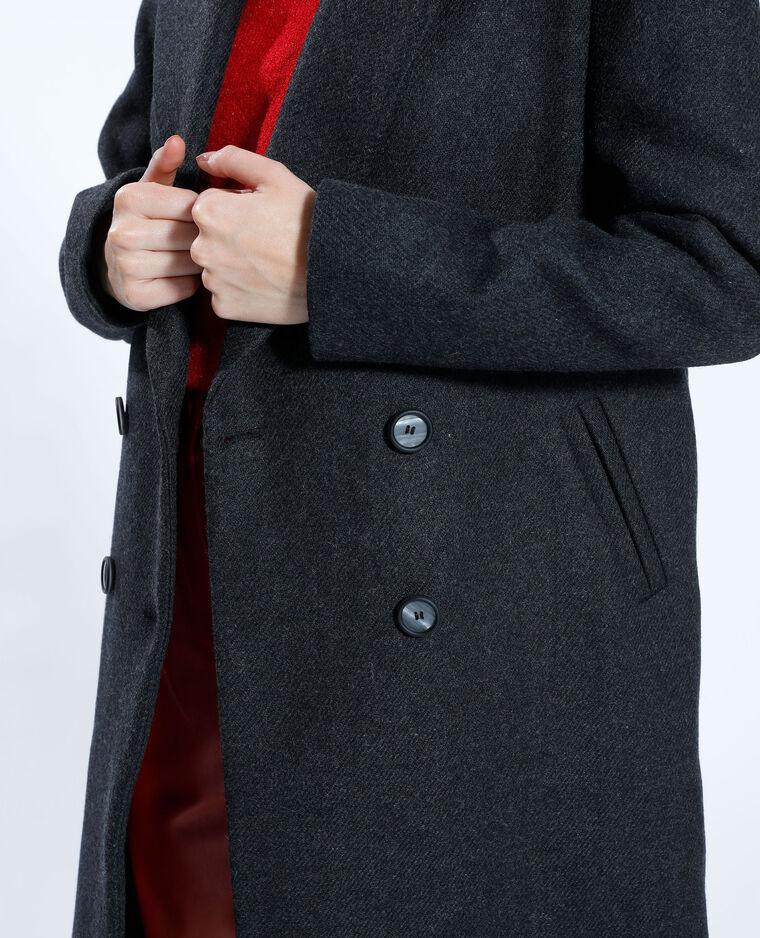 Manteau long avec 50% de laine gris anthracite - Pimkie