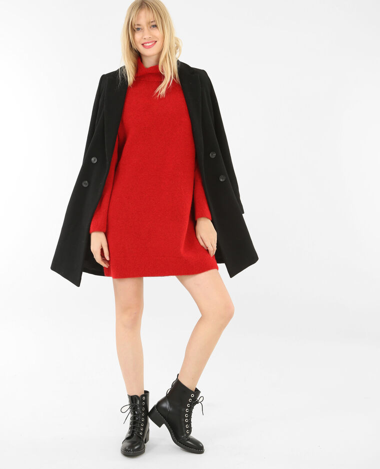 Robe pull col roulé rouge