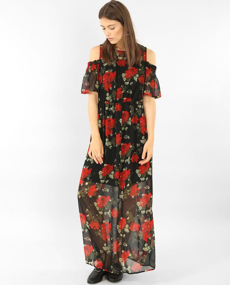9e1c31d6fdc Robe longue en voile imprimée Noir - 780736899E33