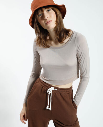 T-shirt cropped avec tulle taupe - Pimkie