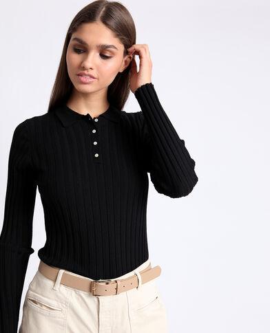 Polo à manches longues noir