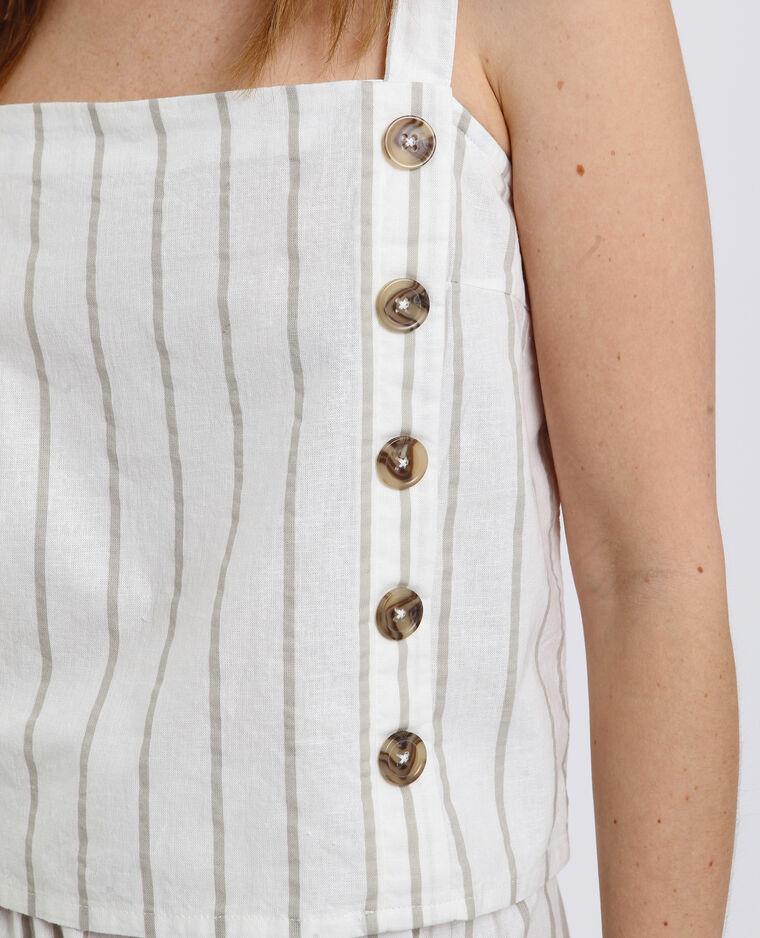 Top boutonné à rayures blanc cassé - Pimkie