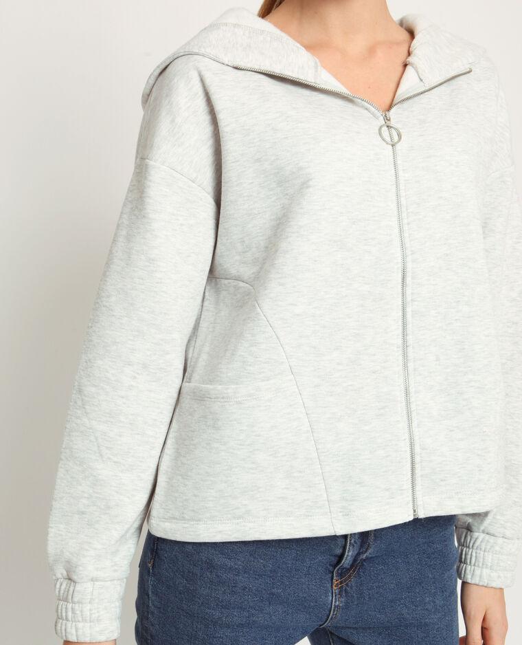 Sweat zippé gris chiné