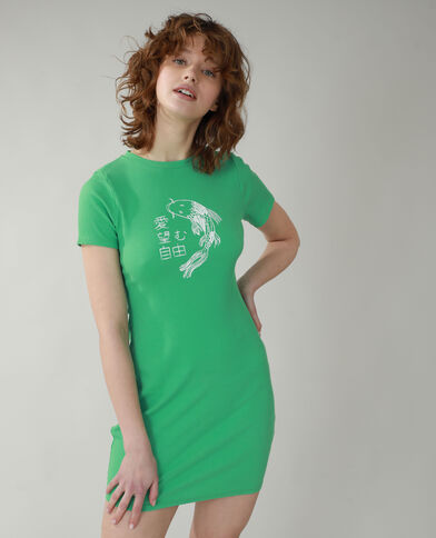 Robe t-shirt côtelée vert - Pimkie