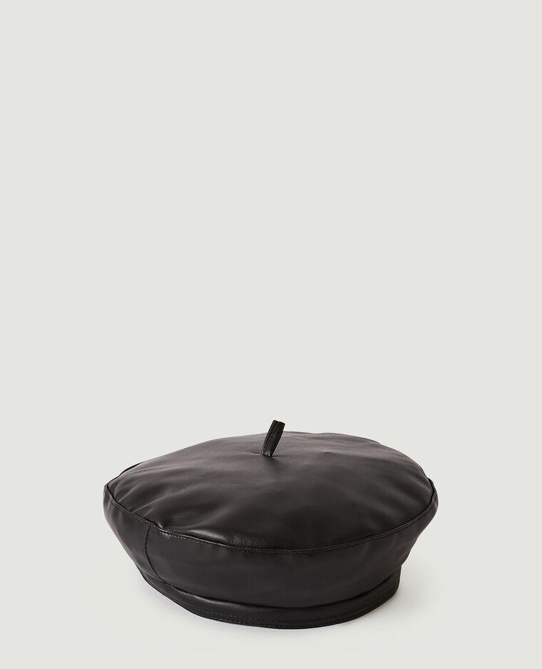 Béret en simili cuir noir - Pimkie
