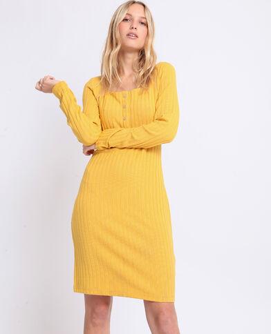 Robe en maille côtelée jaune