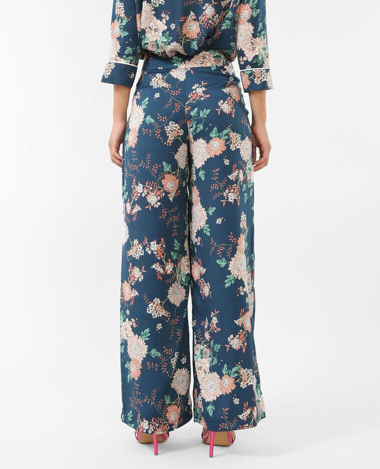 Pantalon style pyjama satiné bleu canard - Pimkie