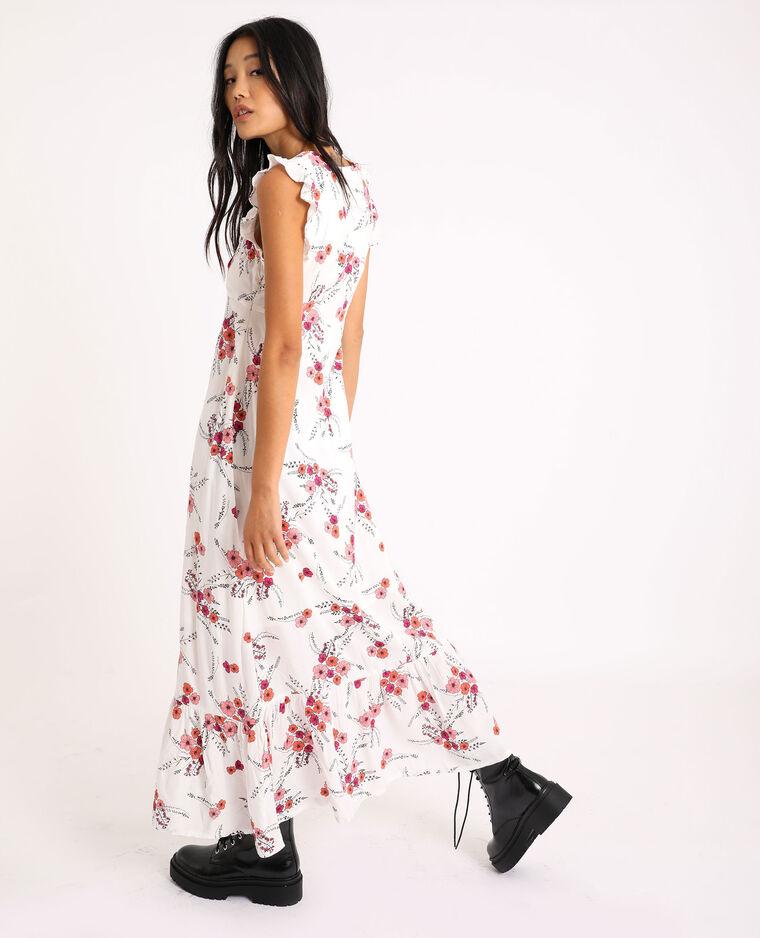 Robe longue à fleurs écru