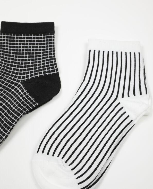 Lot de 2 paires de chaussettes carreaux blanc - Pimkie