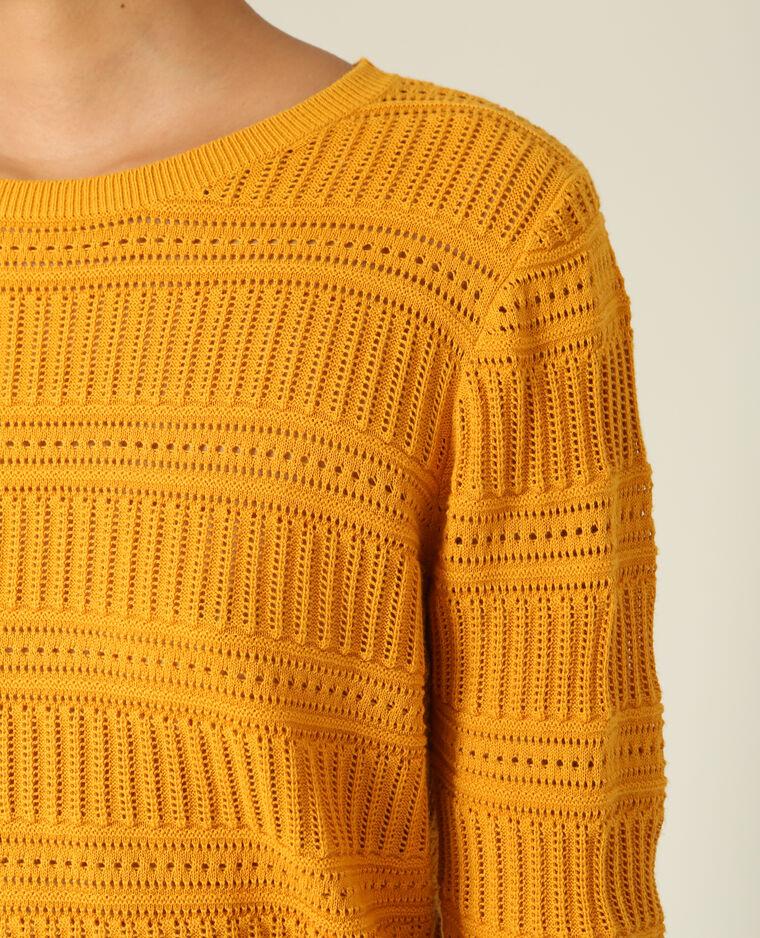 Pull ajouré jaune