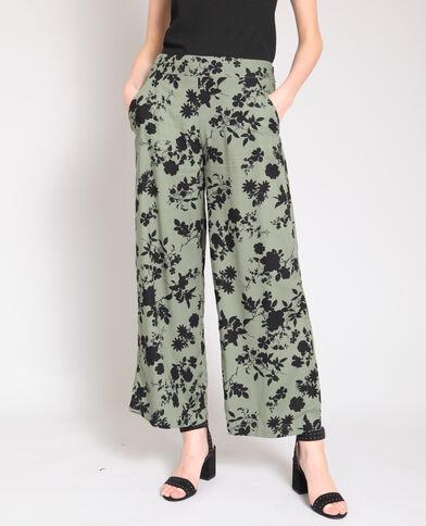 Pantalon large à fleurs kaki
