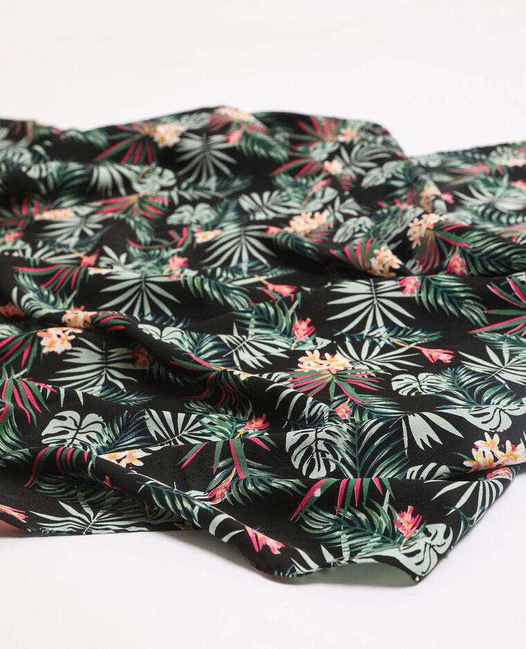 Foulard imprimé tropical noir