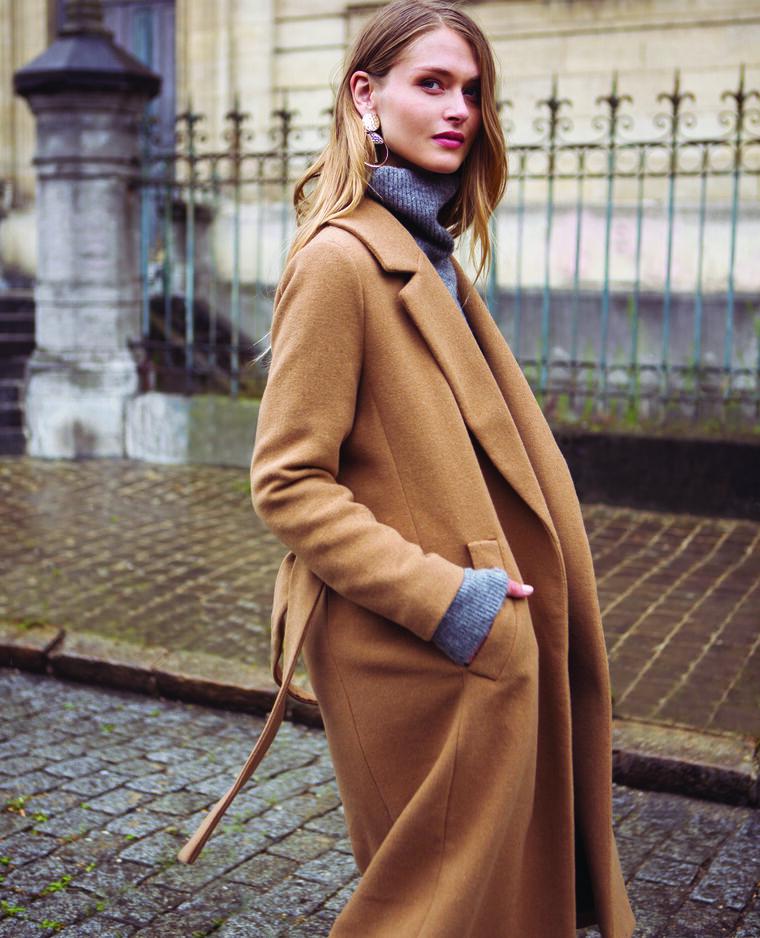 Long manteau drap de laine camel - Pimkie