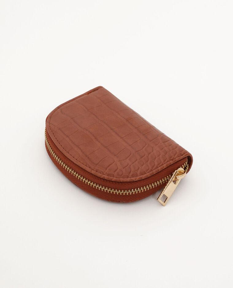 Porte-monnaie faux cuir caramel