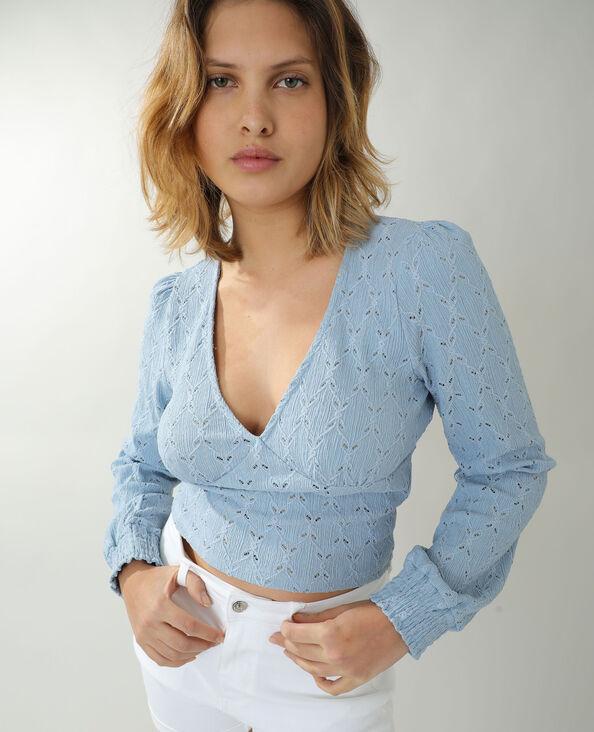 T-shirt ajouré bleu