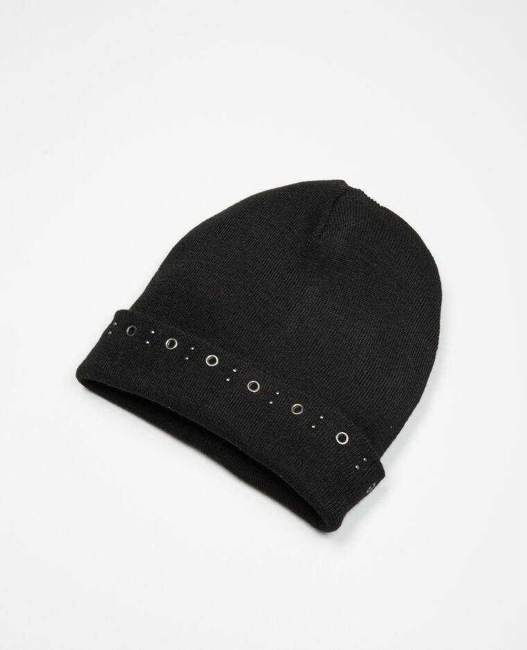 Bonnet avec œillets noir