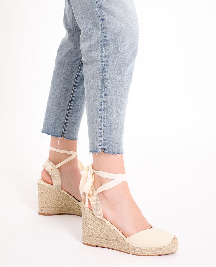 Sandales compensées en paille beige