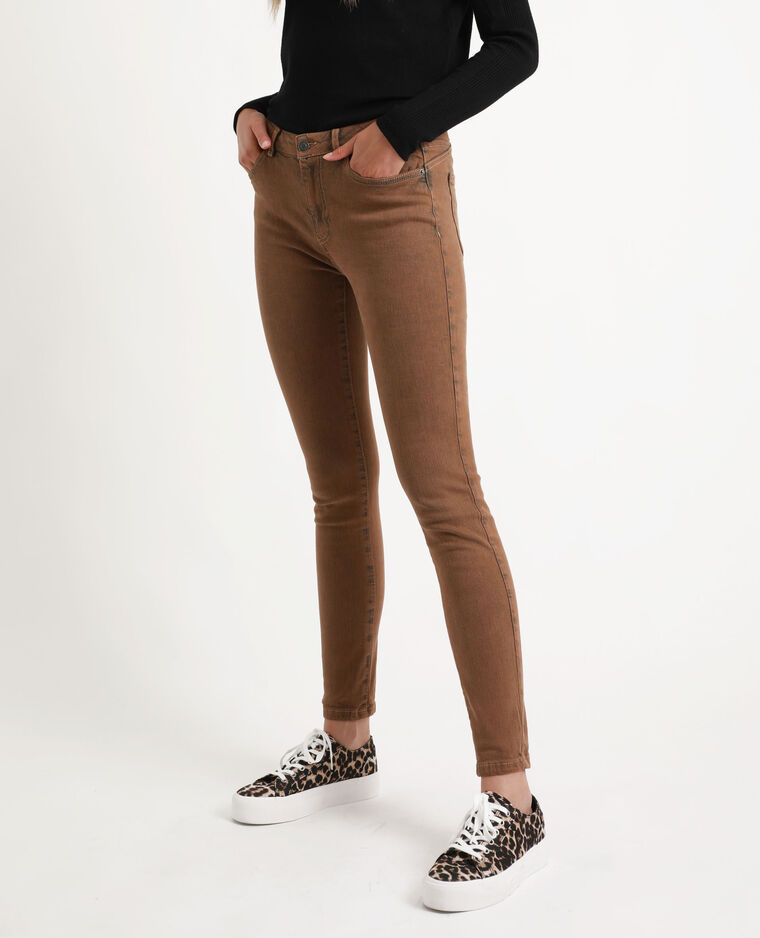 Jean skinny middle waist caramel