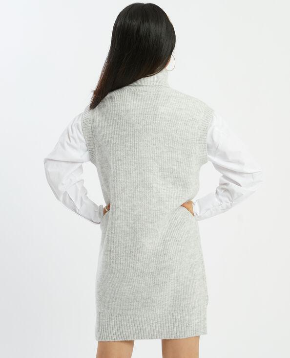 Robe-pull sans manches col roulé blanc - Pimkie