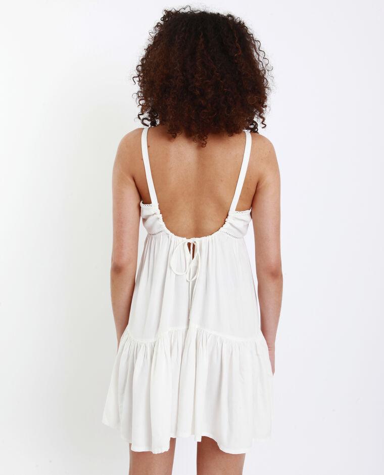 Robe courte ajourée blanc