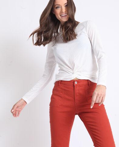 T-shirt twisté blanc cassé