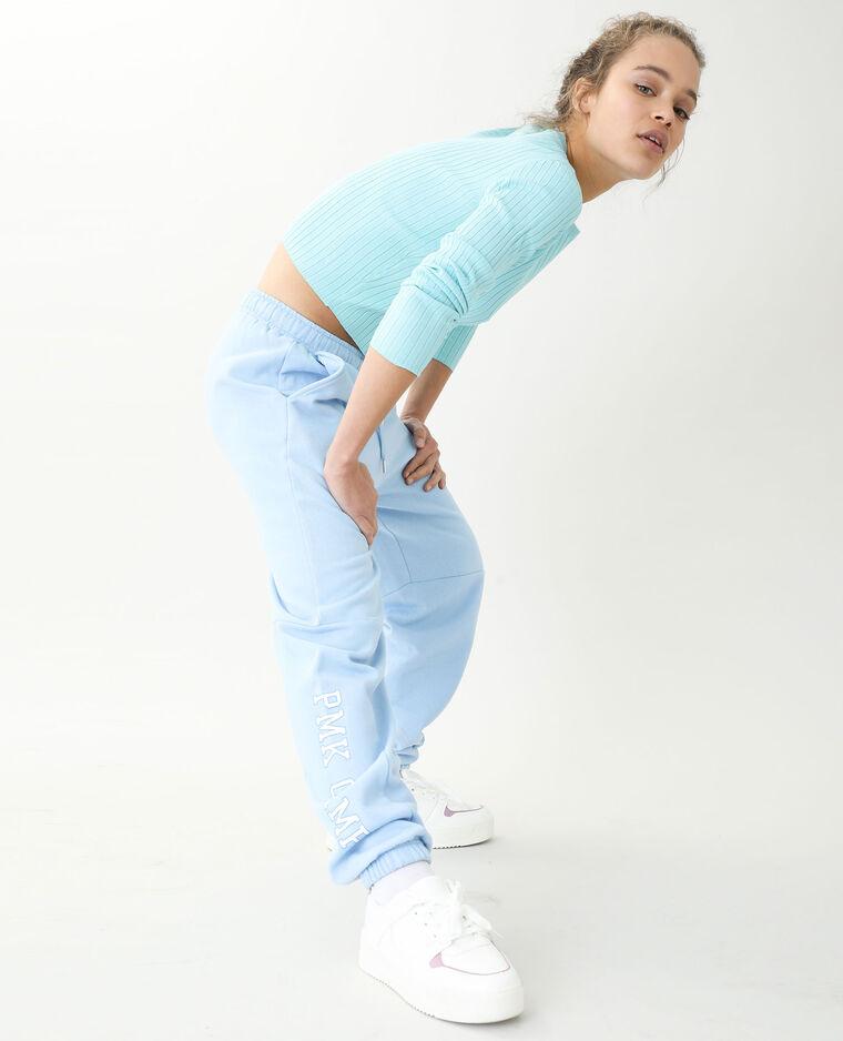 Pull court côtes plates bleu aqua - Pimkie