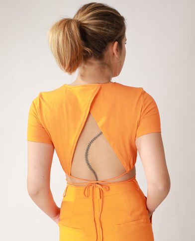 T-shirt cropped à nouer orange - Pimkie